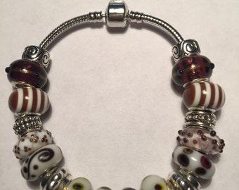 Brown and White European Bracelet