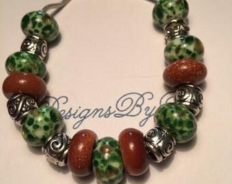 Green with Rust Glitter European Style Bracelet