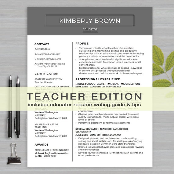 teacher resume template for ms word 1  u0026 2 page resume