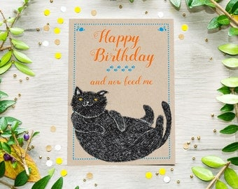 Printable Cat Birthday Card, Funny Cat greeting card, Instant Download Postcard, Last Minute Gift