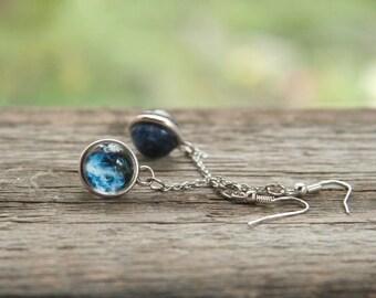 Galaxy earrins, galaxy on a chain, galaxy ball, nebula earrings, cosmic earrings, interstellar earrings