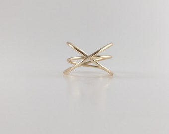 12K Gold Filled Criss Cross Ring, Dainty Ring, Stackable Ring