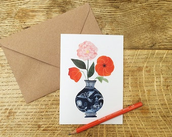 Greetings Card, 'Poppies, Tea Rose'