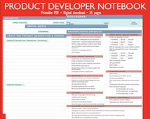 Product Developer Notebook | Log | Invention Log | Inventor's Notebook | Idea Notes | Crowdfunding Checklist | Instant Download | Digital