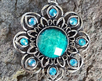 Teal Flower Pendant