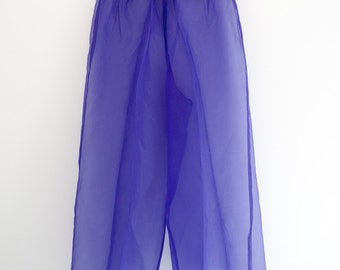 Purple Pants Sheer Palazzo High Waisted 1980s