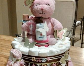 Bear Diaper Cake, butterfly diaper cake, diaper cake stamped butterflies 1 Tier