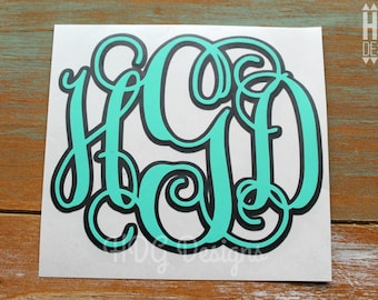 Monogram Decal - Vinyl Monogram Decal - Monogram Sticker - Two Color Monogram Decal - Yeti Decal - RTIC Decal - Car Decal - Laptop Decal