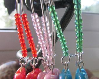 Heart earrings , Various colour heart earrings , Silver plated earrings , Kidney wire earrings , Iridescent earrings , Gifts for her