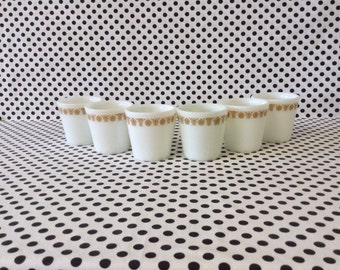 Golden Morning~Gold Butterfly~Pyrex~Cups~Set of 6