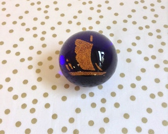 Sailing the Ocean Blue~Gold Ship~Glass Orb~Paperweight