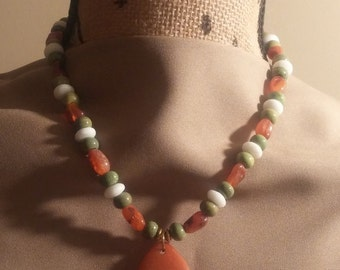 Orange and Green Jasper Necklace with Pendent