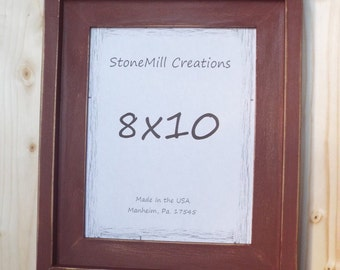 8x10 Farmhouse Stacked Picture Frame, Wooden Distressed Picture frame, Rustic Picture Frame