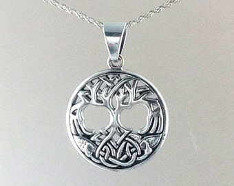Tree of Life Necklace~Silver Celtic Tree Pendant~Celtic Knotted Tree of Life~Knotted Celtic Family Tree Charm~Family Tree~Gift for Boyfriend