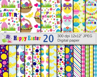 Happy Easter Digital Papers, Bright Easter Digital Scrapbook paper with Easter Basket Chick and Eggs, Instant Download