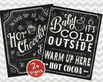 Hot Cocoa Bar Sign, Hand drawn Chalkboard Hot Chocolate