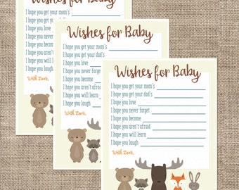 Woodland Animal Baby Shower Wishes for Baby Cards