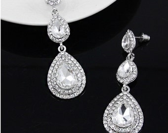 SALE! Bridal Accessories, Bridal Earrings, Bridal Teardrop Earrings, Bridal Drop Earrings, Bridesmaid Earrings, Prom Earrings,