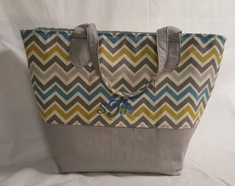 Gray/Teal Chevron Carry All Tote