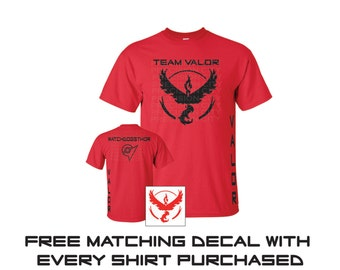 Team Valor_Pokemon Go_Red T-Shirt--Front & Back With CUSTOM gamer tag/name (Includes free 4x4 Decal)