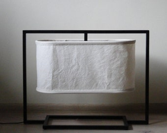 Rectangular metal lamp, fabric lampshade No. 1