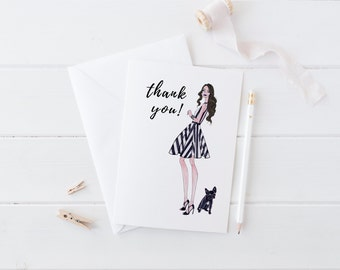 Thank You Cards, Greeting Cards Handmade, Greeting Card set, Blank Greeting Cards, Fashion Greeting Cards, Fashion art, Gift for Her