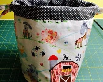Farm Animals Knitting Drawstring bag, Small Projct Bag, Crochet Drawstring Tote WIP Bag