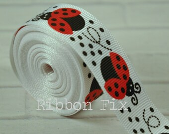 "2 yards 7/8"" Ladybugs Grosgrain Ribbon - US Designer Print - Craft - Wedding - Baby Shower - Home Dec - Dog Collar/Leash"