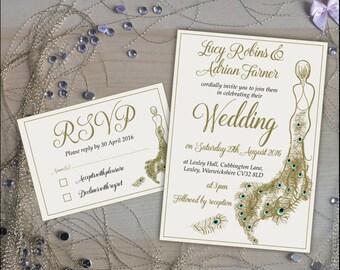 Printable Personalised Wedding Stationery / Wedding Invitation / RSVP Card /Elegant/Gold/Invitation kit