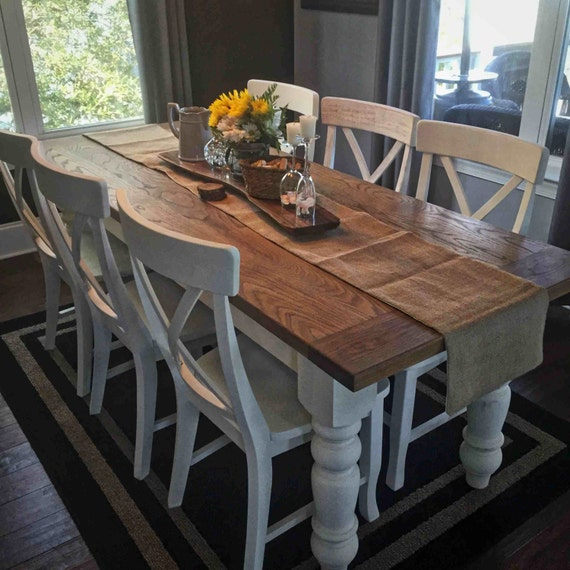 Items similar to custom white oak farmhouse table on etsy for Farm style kitchen table