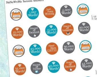 NaNoWriMo Success Stickers Pack Printables / Erin Condren Planner Sizes Instant Gratification Digital Download