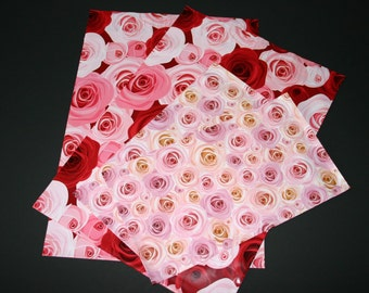50 6x9 And 10x13 Designer Poly Mailers Roses Red Pink Peach Flowers Self Sealing Shipping Bags  25  Each
