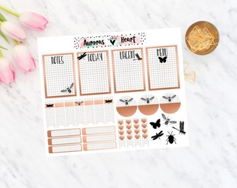 Grid & copper bee Travel minimal planner stickers