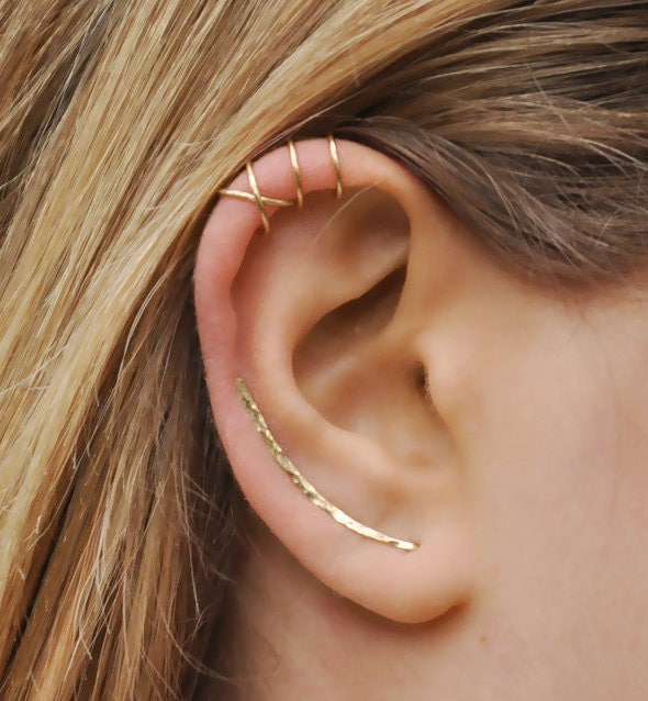 modern minimalist set of 3 ear climber ear cuff double ear. Black Bedroom Furniture Sets. Home Design Ideas