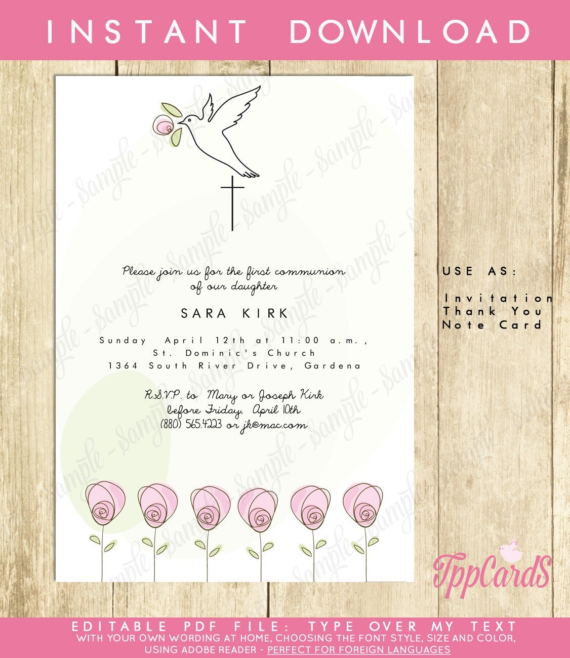 Instant download 5x7 dove baptism invitationsdiy editable pdffirst communion invite pink rose for Instant download invitations