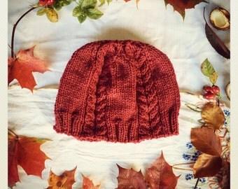 Hand knitted Red Woolly Beanie Hat- Ladies Woollen Hat