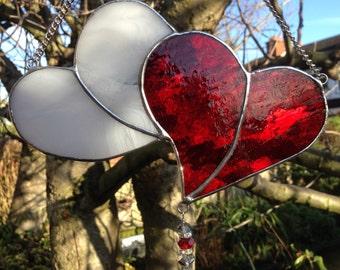 Red & White Heart Stained Glass Suncatcher Panel Art Handmade New - designsinglass - CRhodesGlassArt