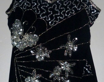 Vintage 1970's Beaded Sequin Disco Dolly Camisole Top UK 10 - 12