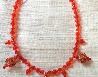 Fire red flower droplet necklace