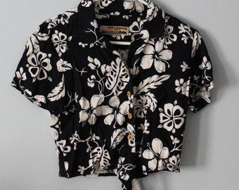 Hawaiian tie off crop top