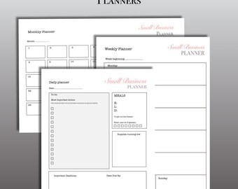 Business planner downloads for small Businesses - digital download pdf - 3 files -daily, weekly and monthly