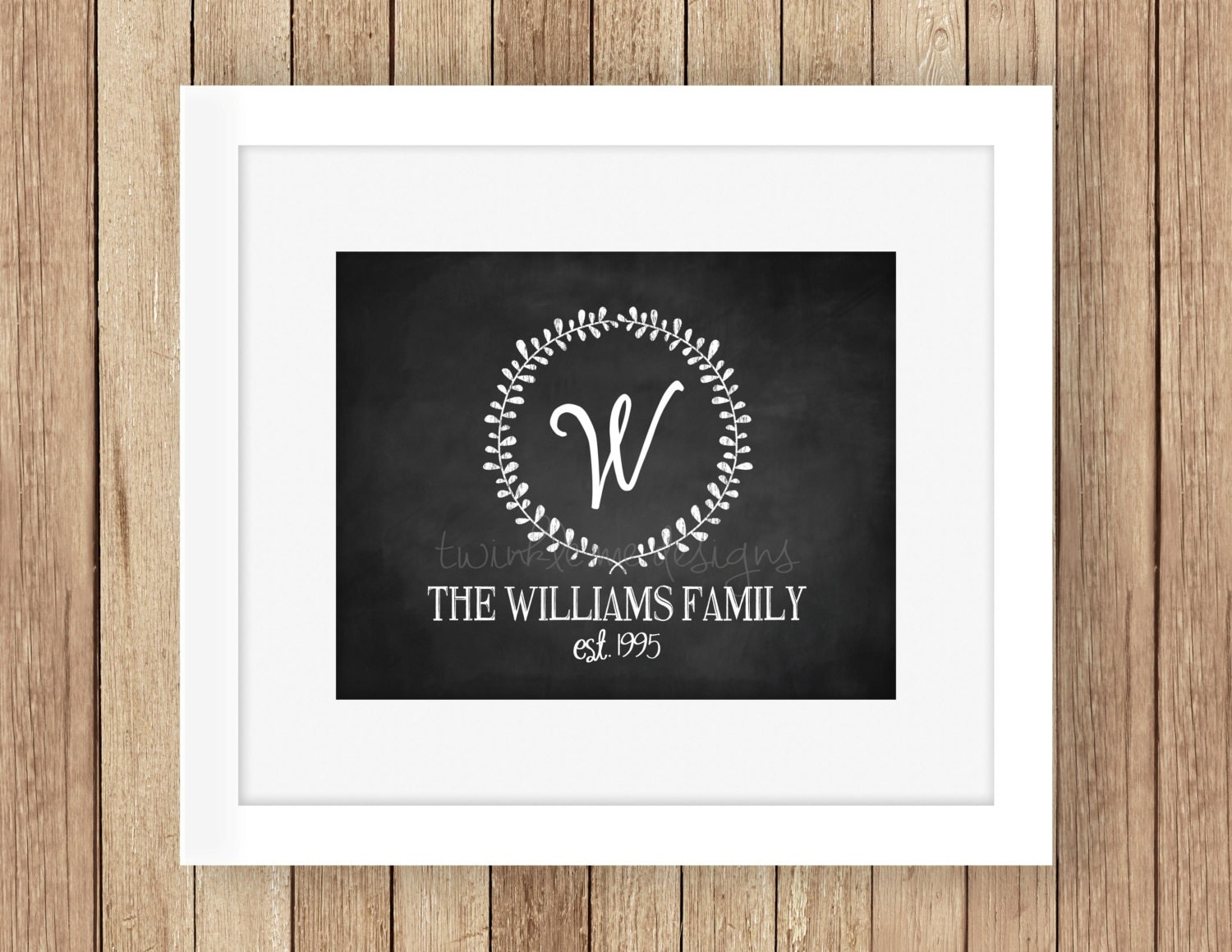 Personalized famly name sign chalk print family name for Home decor names