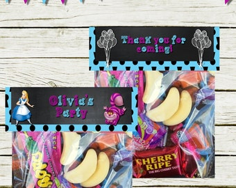 Lolly/Loot/Favour Bag Toppers  (Alice in Wonderland inspired) (DIGITAL FILE ONLY)