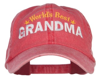 World's Best Grandma Embroidered Washed Cap