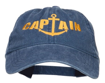 Captain Anchor Embroidered Washed Cap