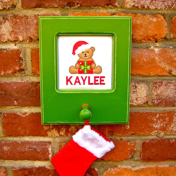 Custom christmas stocking hanger kids name wall hook green