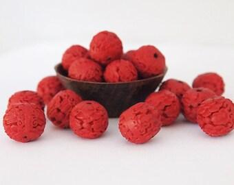 6 Red Cinnabar Beads Round Pumpkin Carved Size 13 x 15mm