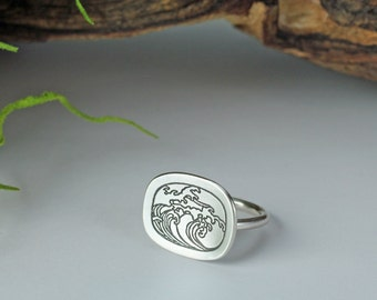 Etched sterling silver ring - Wave ring - Ocean ring - Water ring - Surf ring