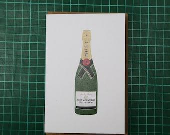 Moet Champagne Bottle Illustration A6 Greeting Card