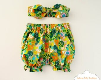 Fruits Bloomers Set~ Girl Bloomer~ Knot Headband~ Green Bloomers~ Printed bloomer~ Cotton baby set~ Baby shower~ Newborn girl~ Pin up baby